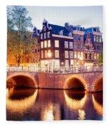 Lights Of Amsterdam Fleece Blanket