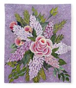 Lilac And Rose Bouquet Fleece Blanket