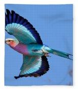 Lilac-breasted Roller In Flight Fleece Blanket