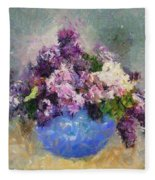 Lilac In Blue Vase Fleece Blanket