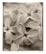 Lilac Macro Sepia Tone Fleece Blanket