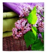 Lilac Still Life Fleece Blanket