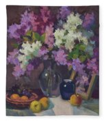Lilacs And Blue Vase Fleece Blanket