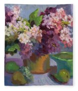 Lilacs And Pears Fleece Blanket
