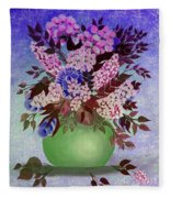 Lilacs And Queen Anne's Lace In Pink And Purple Fleece Blanket