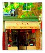 Lili And Oli Latte Espresso Cappucino Coffee Shop Rue Notre Dame St Henri City Scene Carole Spandau Fleece Blanket