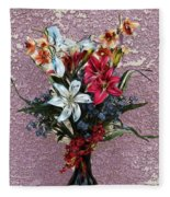 Lilies And Orchids Digitized Purple Fleece Blanket