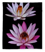 Lilies In Black Fleece Blanket
