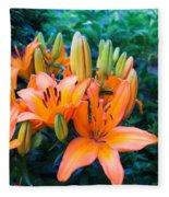 Lilies In The Garden Fleece Blanket