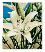 Lilies In White Fleece Blanket