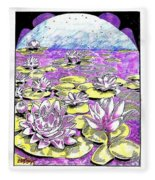 Lilies Of The Lake Fleece Blanket