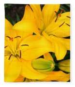 Lillies In Yellow Fleece Blanket
