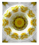 Lily And Daffodil Kaleidoscope Under Glass Fleece Blanket