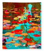 Lily Pads And Koi Colorful Water Garden In Bloom Waterlilies At The Lake Quebec Art Carole Spandau  Fleece Blanket