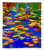 Lily Pads And Koi  Pond Waterlilies Summer Gardens Beautiful Blue Waters Quebec Art Carole Spandau  Fleece Blanket