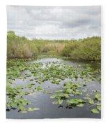Lily Pads Floating On Water, Anhinga Fleece Blanket