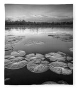 Lily Pads In The Glades Black And White Fleece Blanket