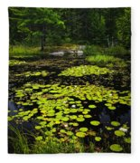 Lily Pads On Lake Fleece Blanket