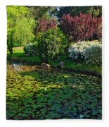 Lily Pond And Colorful Gardens Fleece Blanket