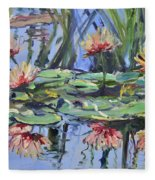 Lily Pond Reflections Fleece Blanket