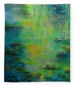 Lily Pond Tribute To Monet Fleece Blanket