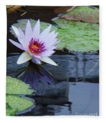 Lily Purple And White Fleece Blanket