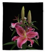 Lily With Buds Fleece Blanket