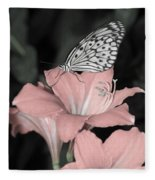Lily With Butterly  Fleece Blanket