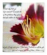 Lily With Scripture Fleece Blanket