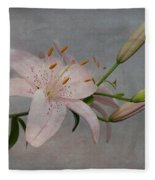 Pink Lily With Texture Fleece Blanket