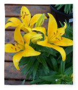 Lily Yellow Flower Fleece Blanket