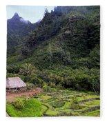 Limahuli Taro Fields In Kauai Fleece Blanket