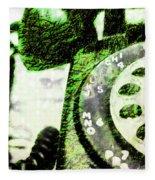 Lime Rotary Phone Fleece Blanket