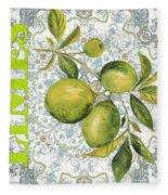 Limes On Damask Fleece Blanket