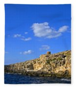 Limestone Rock, Mediterranean Sea, Malta Fleece Blanket