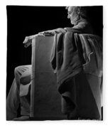 Lincoln In Black And White Fleece Blanket
