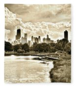 Lincoln Park View Sepia Fleece Blanket