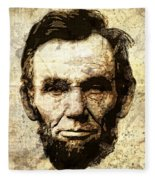 Lincoln Sepia Grunge Fleece Blanket