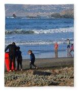 Linda Mar Beach Families Fleece Blanket