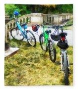 Line Of Bicycles In Park Fleece Blanket