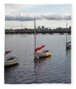 Line Of Boats On The Charles River Fleece Blanket