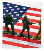 Line Of Toy Soldiers On American Flag Crisp Depth Of Field Fleece Blanket