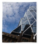 Lines Triangles And Cloud Puffs - Hearst Tower In New York City Fleece Blanket