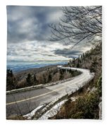 Linn Cove Viaduct During Winter Near Blowing Rock Nc Fleece Blanket