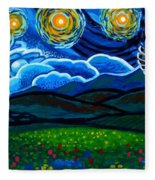 Lion And Owl On A Starry Night Fleece Blanket