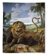 Lion And Three Wolves Fleece Blanket