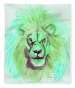 Lion Blue By Jrr Fleece Blanket
