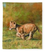 Lion Cub Running Fleece Blanket
