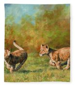 Lion Cubs Running Fleece Blanket