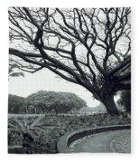 Lion Dog And Tree - Liliuokalani Park - Hawaii Fleece Blanket